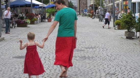 father and son in skirts